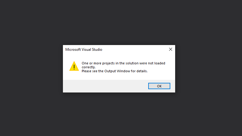Re-open the solution file if you see a loading error