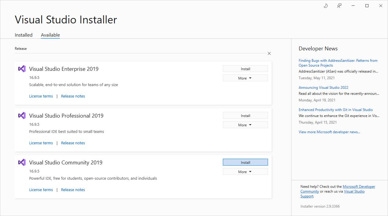 Choose Visual Studio 2019 Community in the installer
